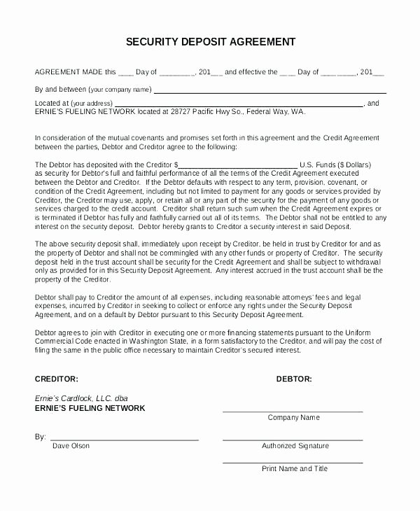Security Deposit Agreement form Unique Rental Deposit Agreement Template