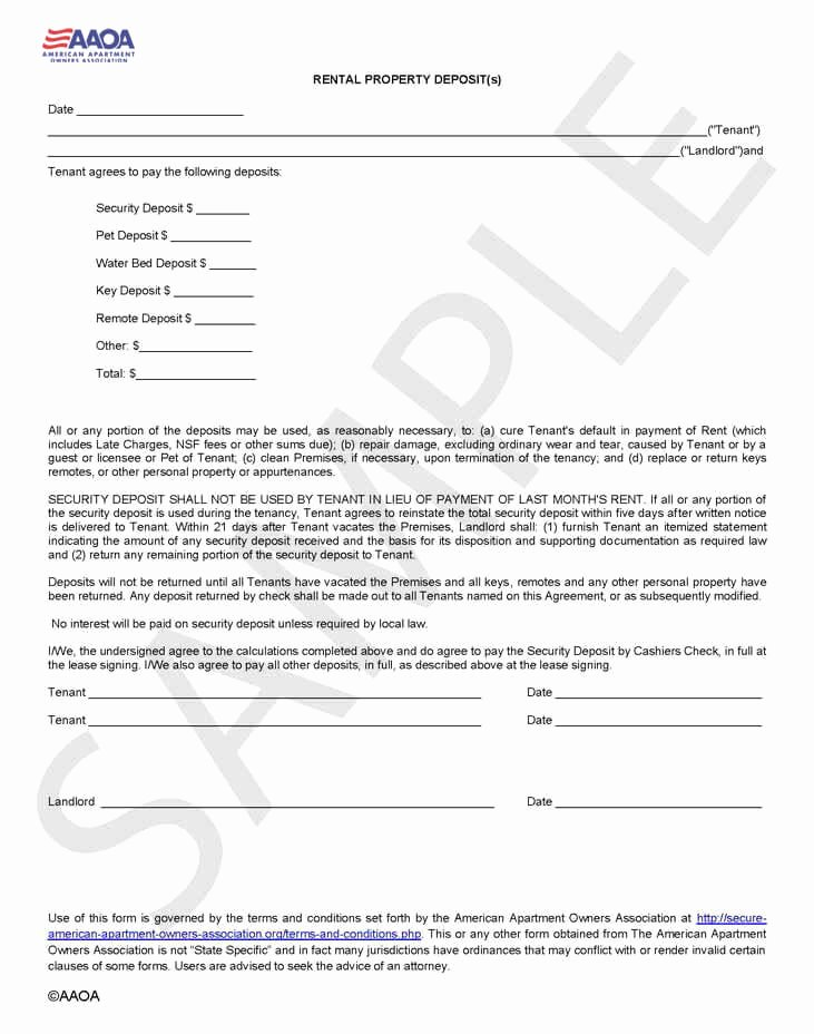 Security Deposit Agreement form Unique Rental Deposit form Security Deposit Agreement