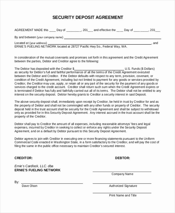 Security Deposit Agreement format Beautiful Free 10 Sample Security Deposit forms