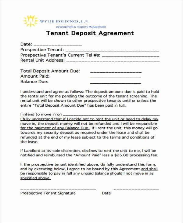 Security Deposit Agreement format Elegant 11 Deposit Agreement Templates Pdf Word