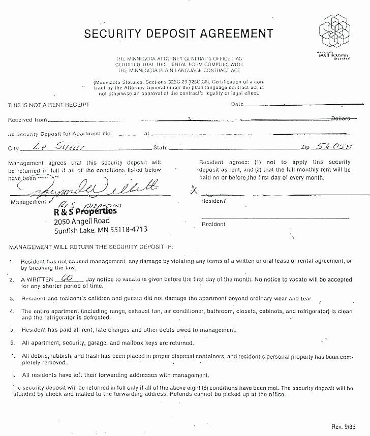 Security Deposit Agreement format Elegant Rental Deposit Agreement Template