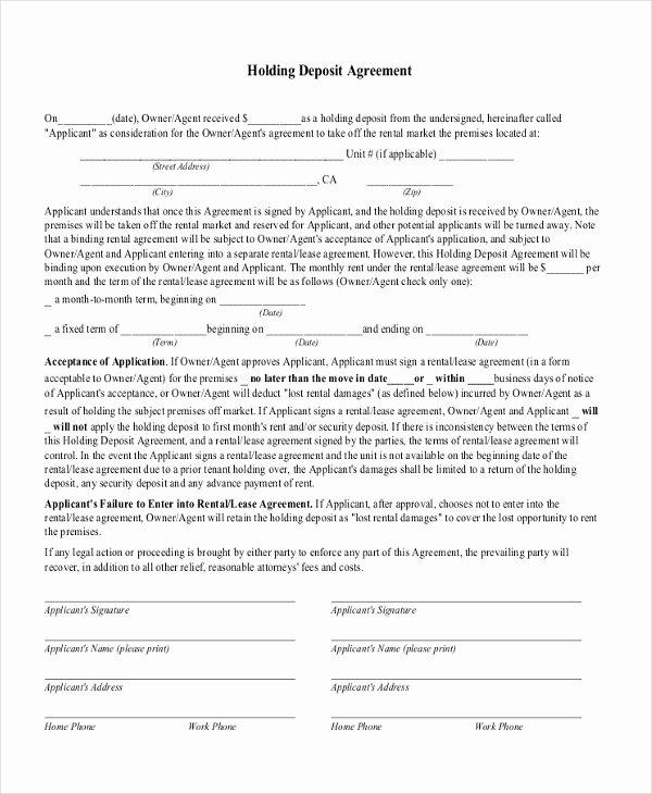 Security Deposit Agreement format Fresh Free 11 Sample Deposit Agreement forms