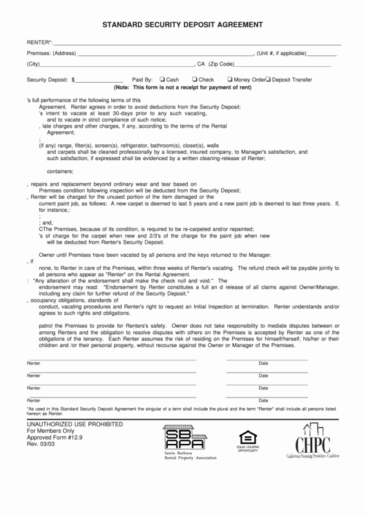 Security Deposit Agreement format Fresh Standard Security Deposit Agreement Template Printable Pdf