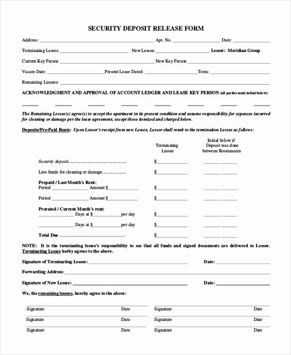 Security Deposit Agreement format Lovely Free 10 Sample Security Deposit forms
