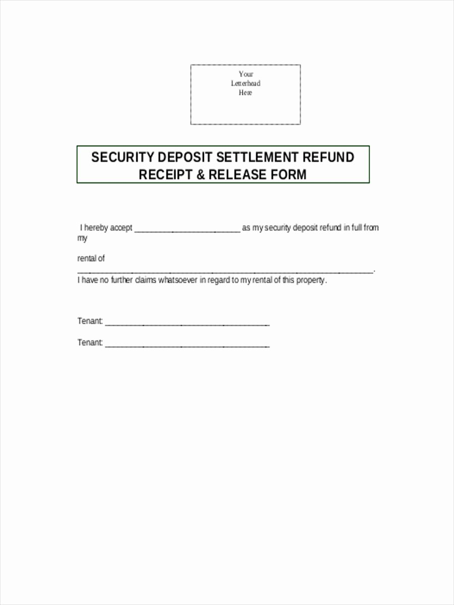 Security Deposit Return Receipt Awesome Free 8 Security Deposit form In Sample Example format