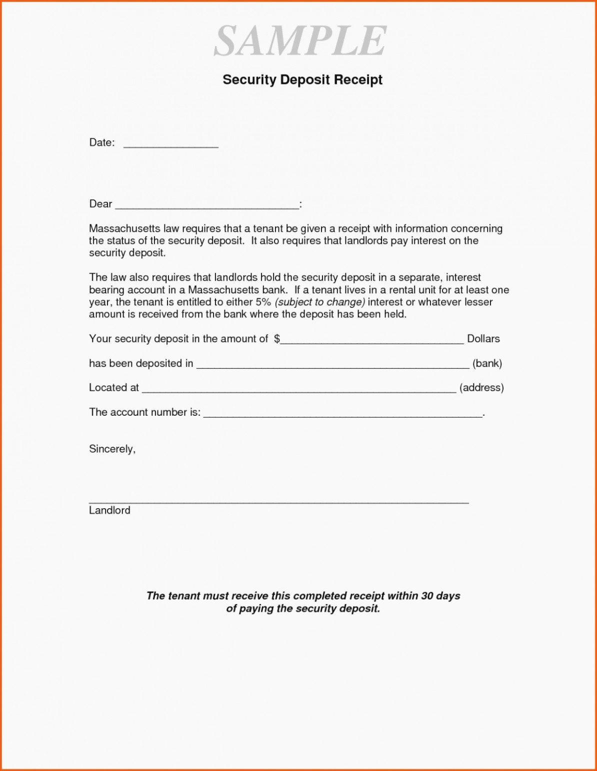 Security Deposit Return Receipt Awesome Security Deposit Letter format Climatejourney