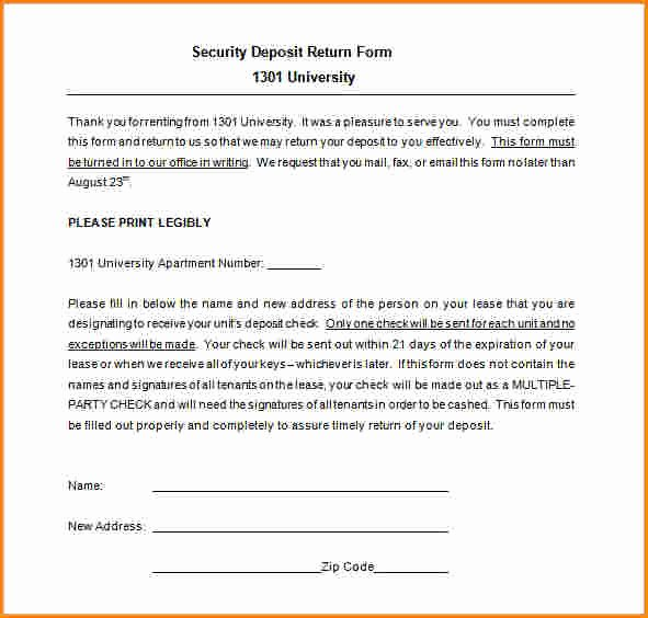 Security Deposit Return Receipt Elegant 5 Security Deposit Refund Receipt