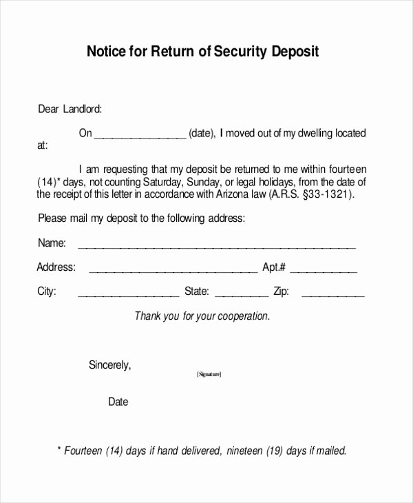 Security Deposit Return Receipt Fresh Free 8 Sample Security Deposit Receipt forms In Pdf