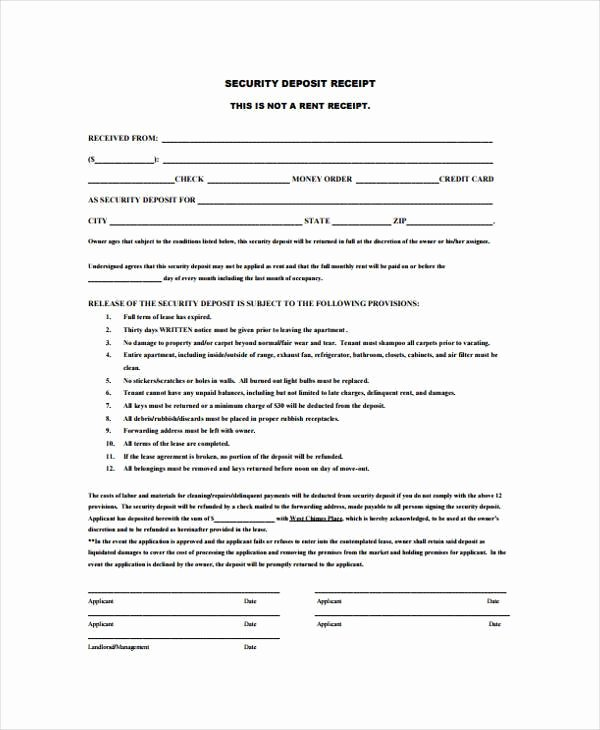 Security Deposit Return Receipt Inspirational 7 Deposit Receipt form Samples Free Sample Example format Download