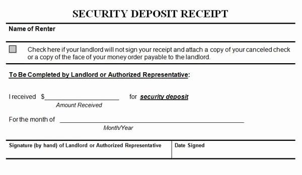 Security Deposit Return Receipt Lovely Security Deposit Receipt Templates Find Word Templates