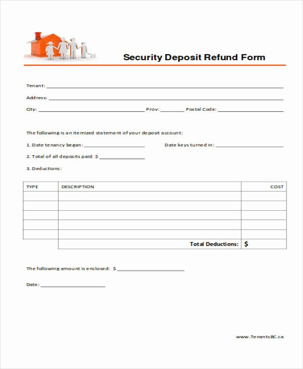 Security Deposit Return Receipt Luxury 39 Free Receipt forms