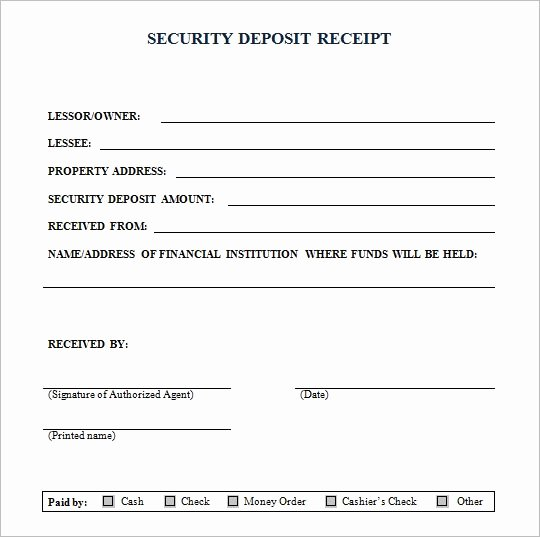 Security Deposit Return Receipt Luxury Security Deposit Receipt form