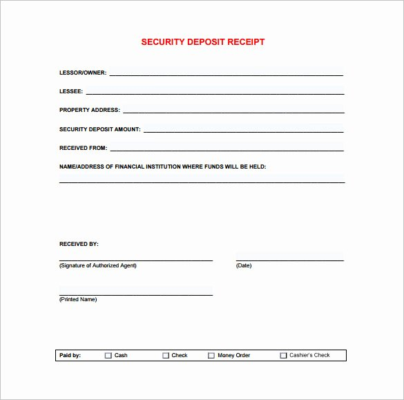 Security Deposit Return Receipt New Receipt Template Doc for Word Documents In Different Types You Can Use