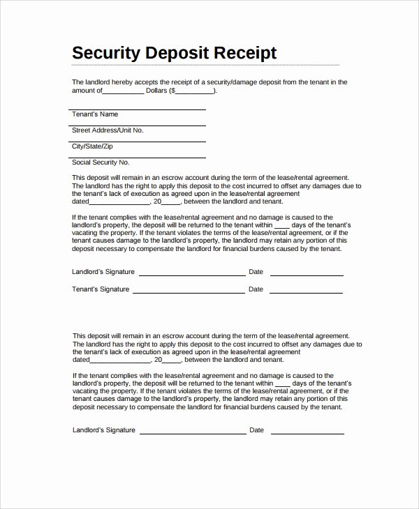 Security Deposit Return Receipt Unique Sample Security Deposit Receipt 8 Free Documents Download In Word Pdf