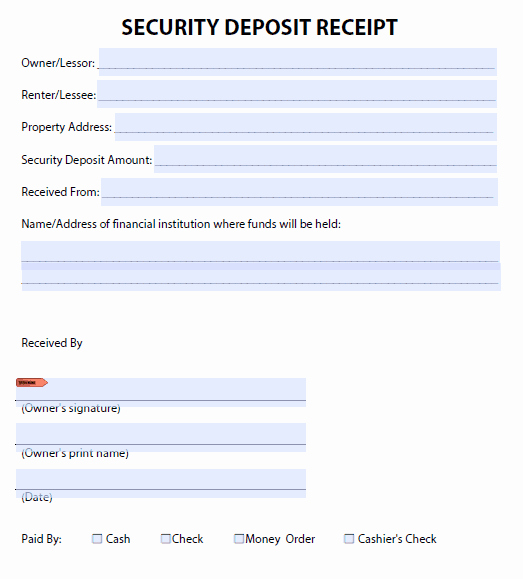 Security Deposit Return Receipt Unique Security Deposit Receipt Templates Find Word Templates