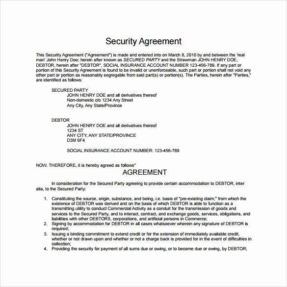 Security Guard Contracts Templates Awesome 10 Sample Free Security Agreement Templates