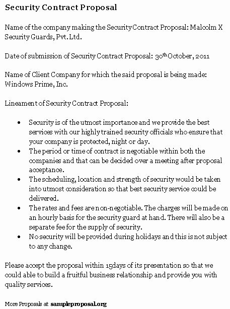 Security Guard Contracts Templates Awesome Security Contract Proposal