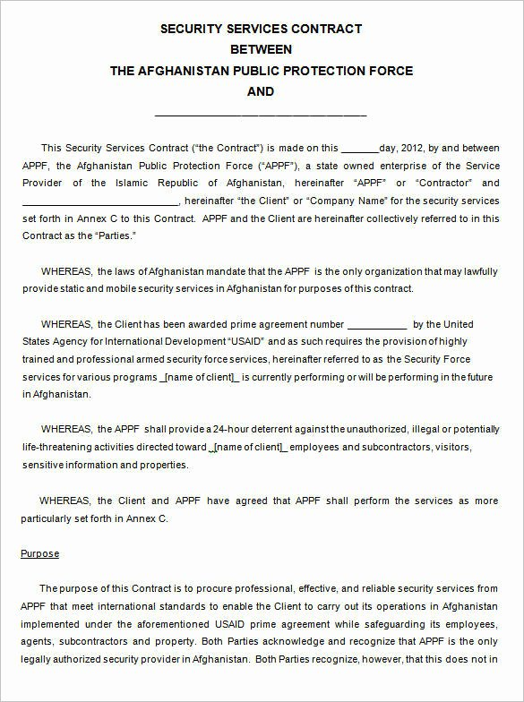Security Guard Contracts Templates Beautiful Free 13 Security Contract Samples and Templates In Pdf