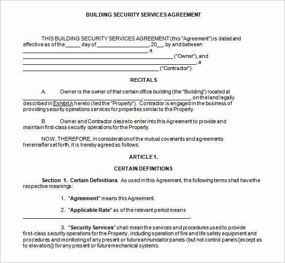 Security Guard Contracts Templates Best Of Free 13 Security Contract Samples and Templates In Pdf