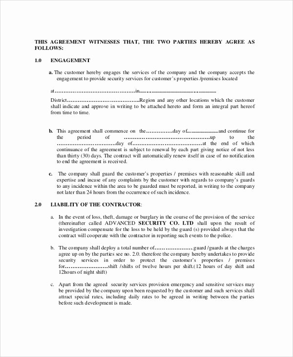 Security Guard Contracts Templates Fresh Contract Sample Between Two Parties