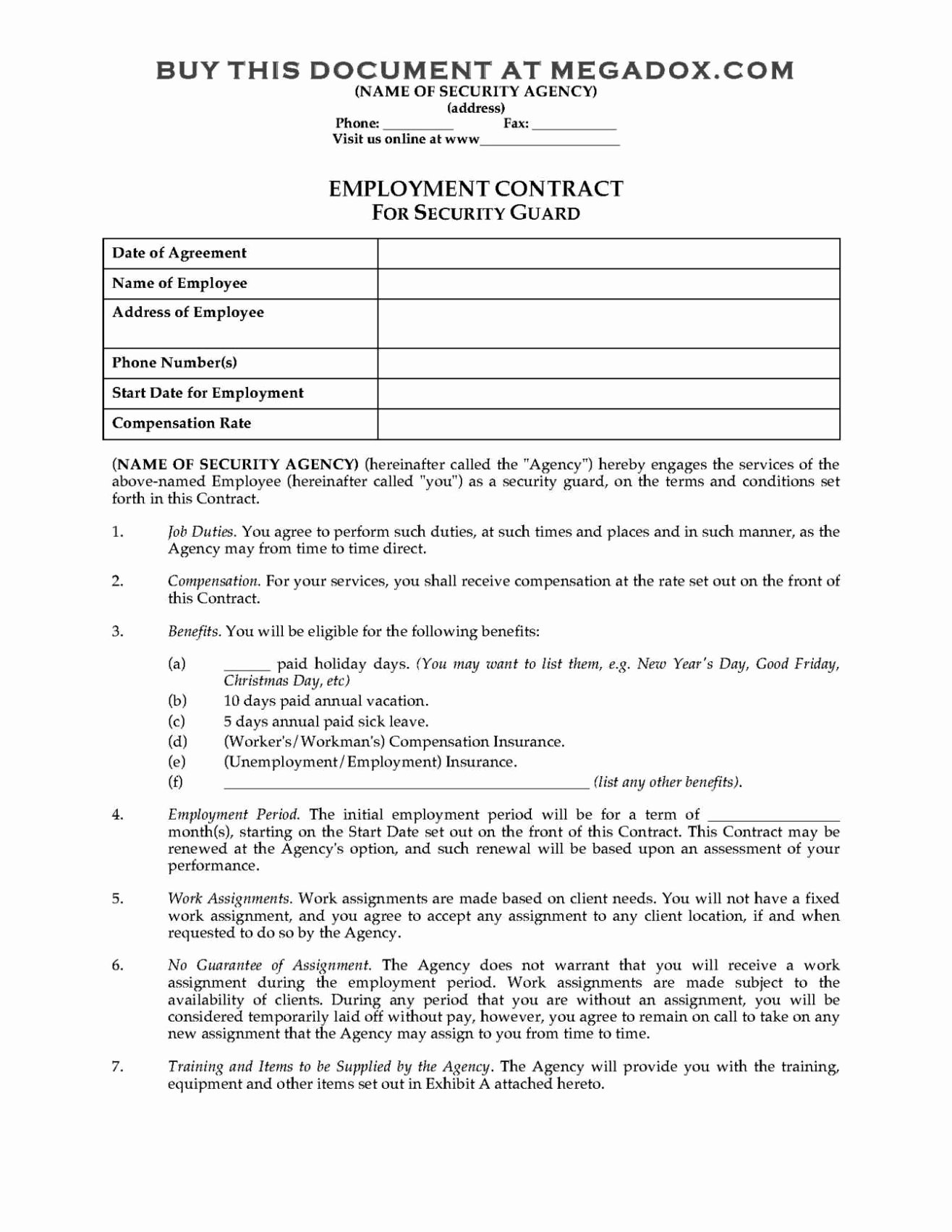 Security Guard Contracts Templates Fresh Contract Templates Sampletemplatess Sampletemplatess