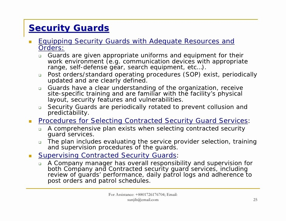 Security Guard Contracts Templates New Security Guard Contract Template