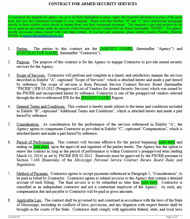 Security Guard Contracts Templates Unique 10 Free Sample Security Agreement Templates Printable Samples