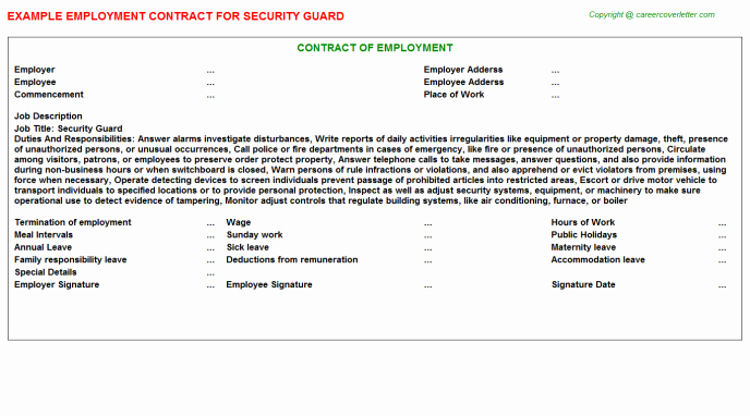 Security Guard Contracts Templates Unique Security Guard Employment Contract