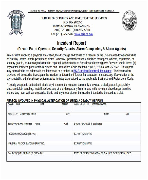 Security Incident Report Sample Best Of 59 Incident Report formats Pdf Word Docs