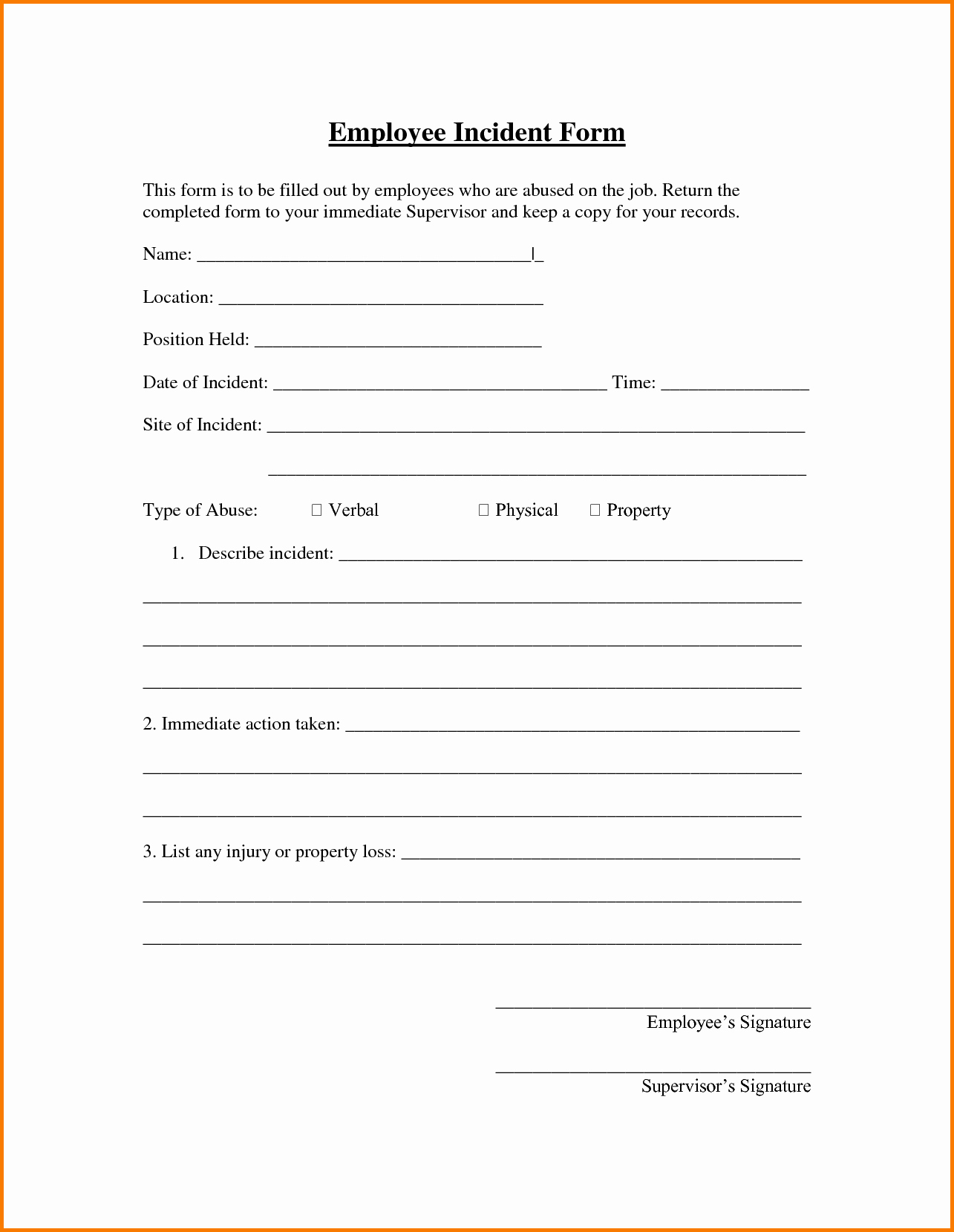 Security Incident Report Sample Best Of Employee Incident Report Sample