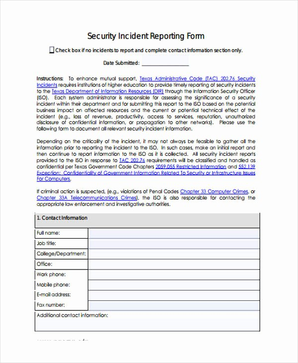 incident report form example