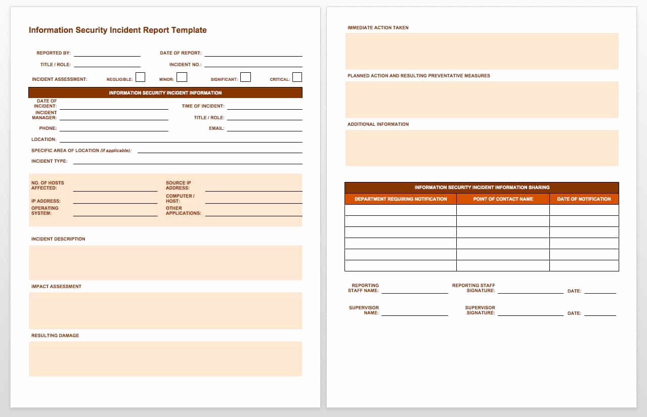 Security Incident Report Sample Luxury Free Incident Report Templates Smartsheet