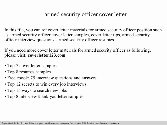 Security Officer Cover Letter Awesome Armed Security Officer Cover Letter