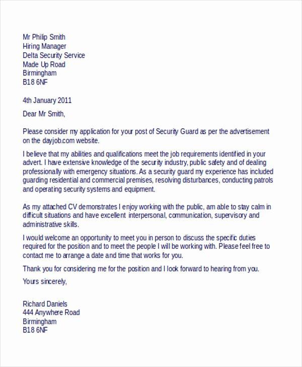 Security Officer Cover Letter Elegant Application Letter Sample Security Guard Security Ficer Cover Letter Sample