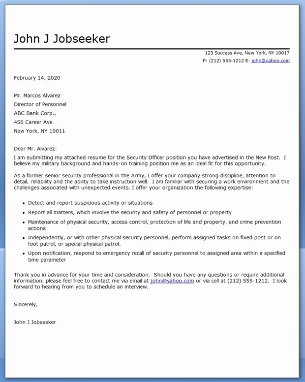 Security Officer Cover Letter Lovely Security Ficer Cover Letter