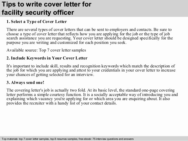 Security Officer Cover Letter Luxury Facility Security Officer Cover Letter