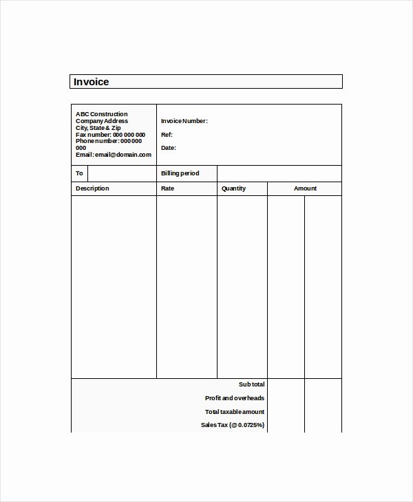 Self Employed Invoice Template Best Of Self Employed Invoice Template 12 Free Word Excel Pdf Documents Download