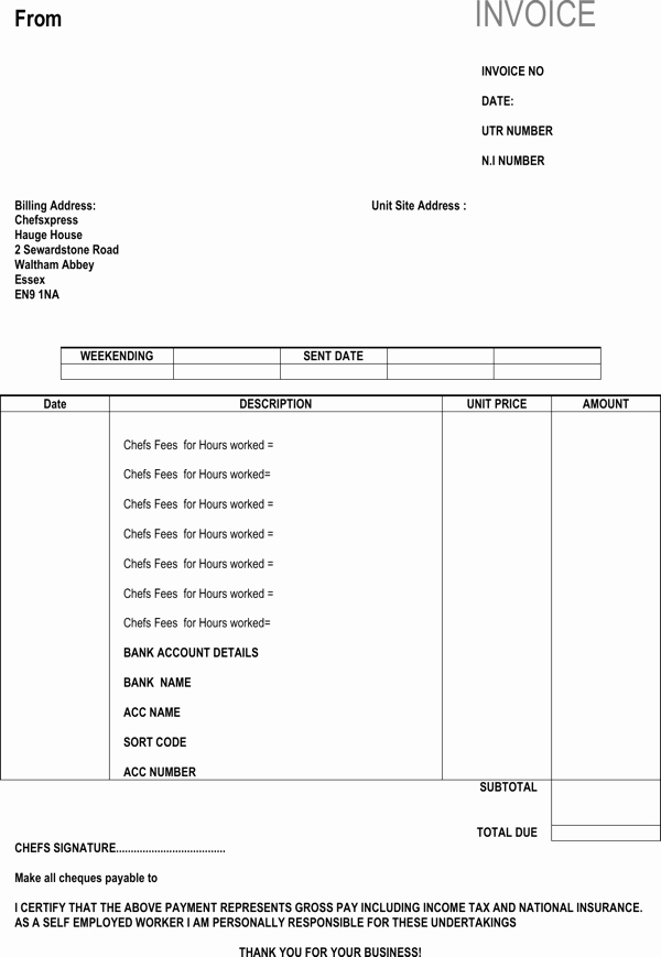 Self Employed Invoice Template Inspirational Download Self Employed Chef Invoice Template for Free formtemplate