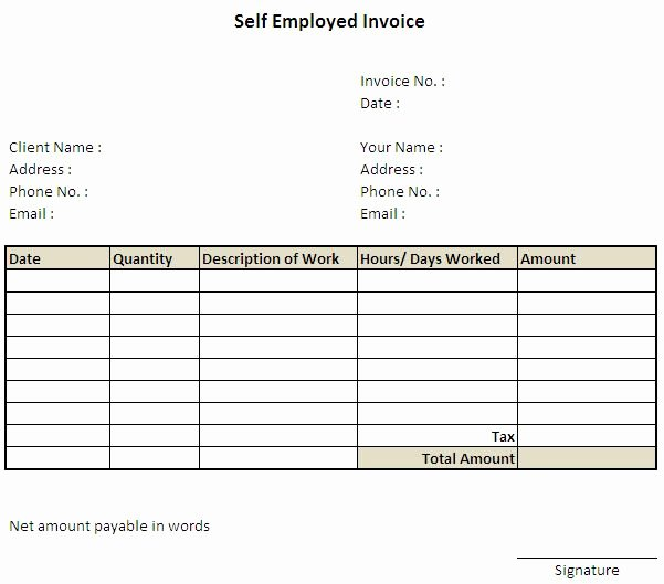 Self Employed Invoice Template Lovely 11 Self Employed Invoice Template Uk 7 Invoice
