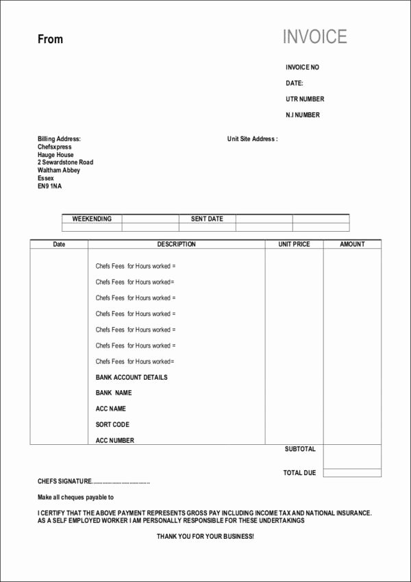 Self Employed Invoice Template New Free 10 Self Employed Invoice Samples & Templates In Pdf