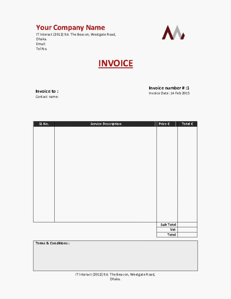 Self Employed Invoice Template New Template – Platte Sunga Zette