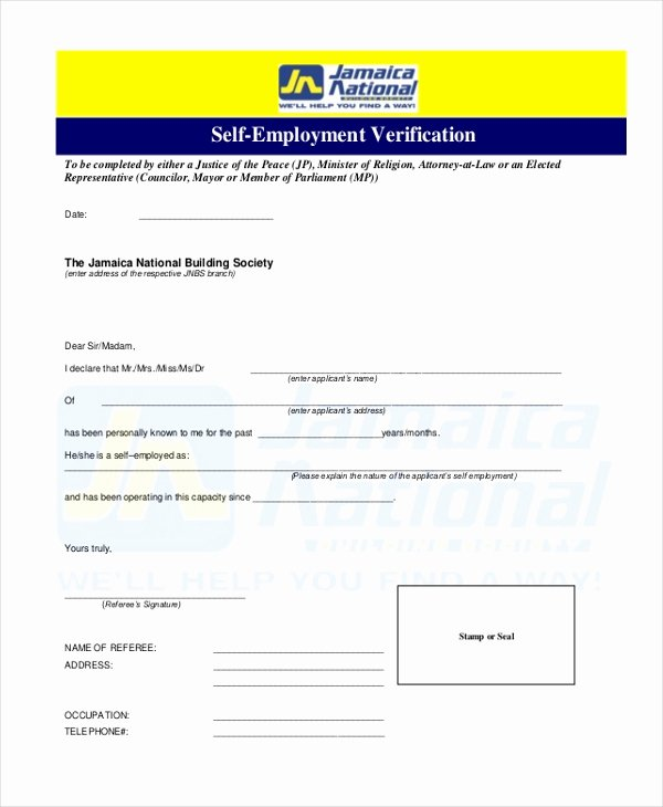 Self Employment Verification form Best Of Free 13 Sample Employment Verification forms