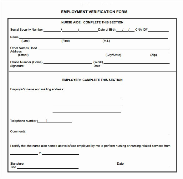 Self Employment Verification form Inspirational Employment Verification form 8 Download Documents In