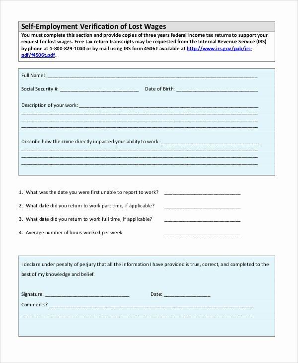 Self Employment Verification form Inspirational Verification form