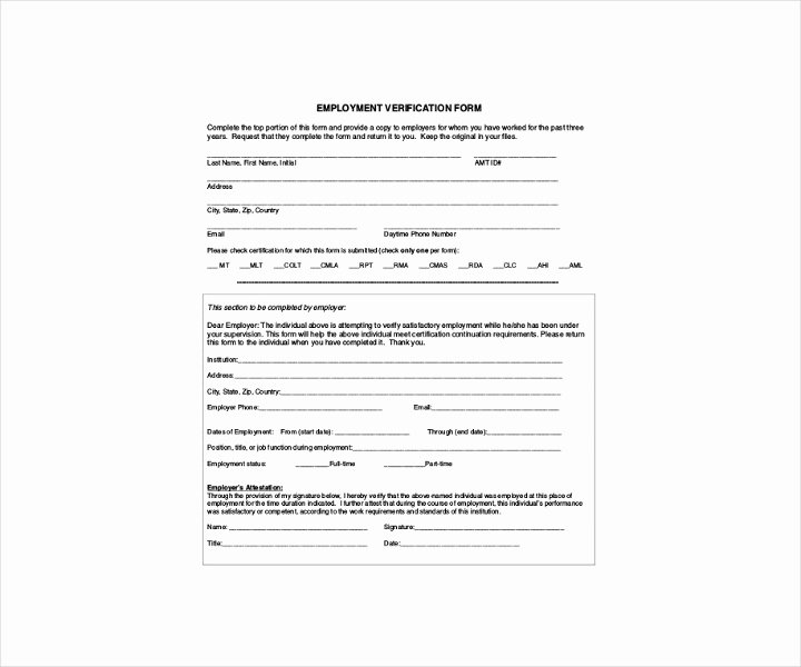 Self Employment Verification form Lovely 9 Employment Verification forms Free Pdf Doc format