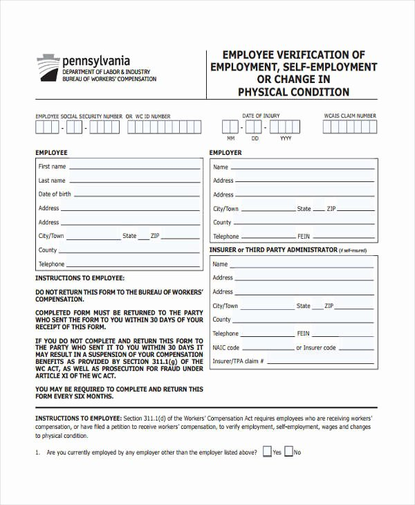 Self Employment Verification form Lovely Free 10 Employment Verification forms In Samples