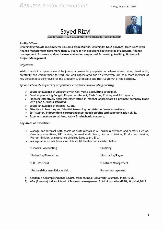 Senior Accountant Resume Sample Beautiful Cv Senior Accountant
