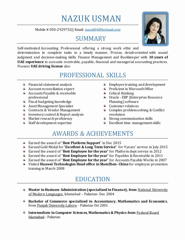 Senior Accountant Resume Sample Beautiful Nazuk Senior Accountant Resume with 10 Yrs Of Uae Exp