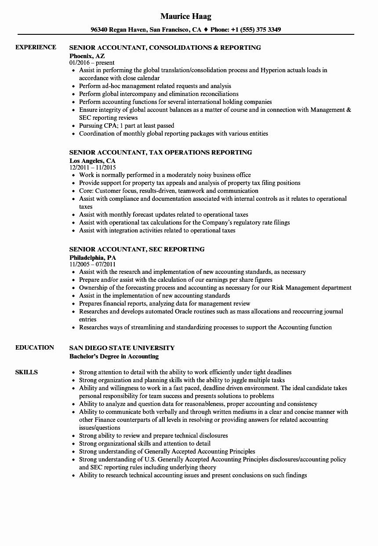 Senior Accountant Resume Sample Best Of Reporting Senior Accountant Resume Samples