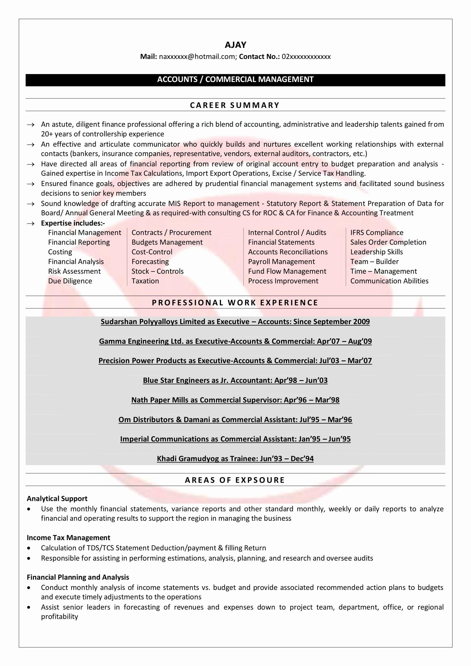 Senior Accountant Resume Sample Elegant Senior Accountant Sample Resumes Download Resume format Templates